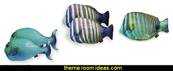 Fish Design Decorative Throw Pillows underwater bedroom ideas - under the sea theme bedrooms - mermaid theme bedrooms - sea life bedrooms - Little mermaid princess Ariel - Sponge Bob theme bedrooms - mermaid bedding - Disney's little mermaid - clamshell bed - mermaid murals - mermaid wall decal stickers -