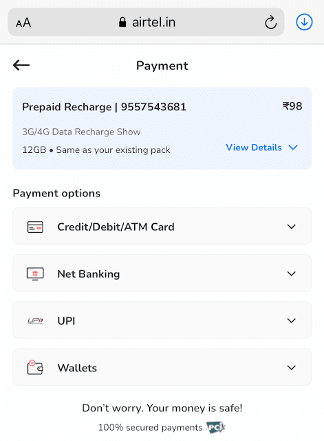 Complete payment for Airtel data voucher