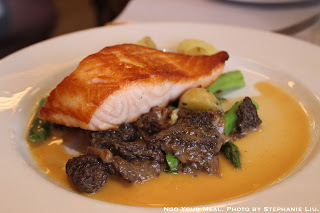Pan Roasted Organic Salmon with asparagus, chanterelles, new potatoes and lobster beurre blanc at Balthazar