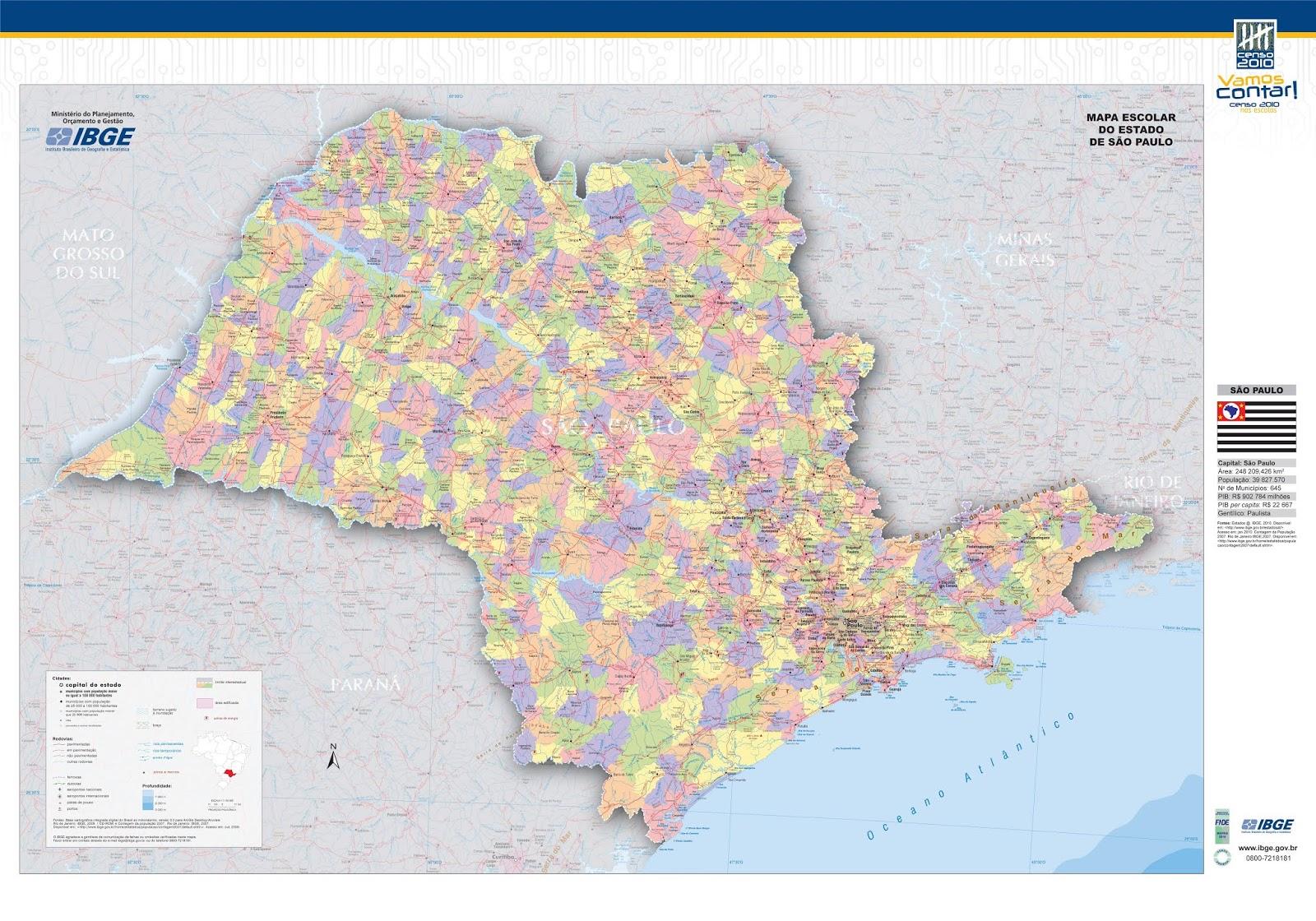 Mapa Político e Rodoviário do Estado de São Paulo