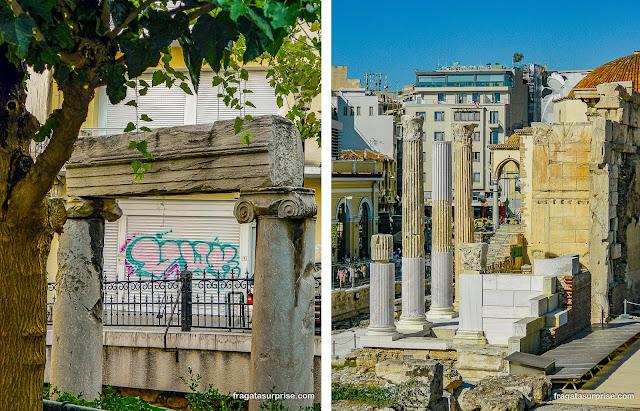 Atenas: Vestígios arqueológicos no jardim da Igreja de Santa Catarina, em Pláka e colunas antigas em Monastiráki