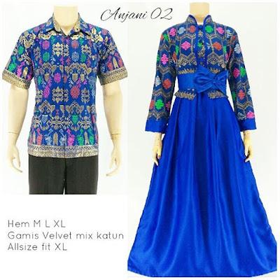 Batik Sarimbit Gamis Anjani2 biru