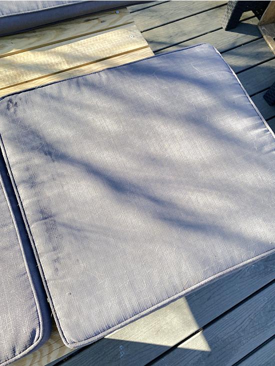 faded grey outdoor cushions