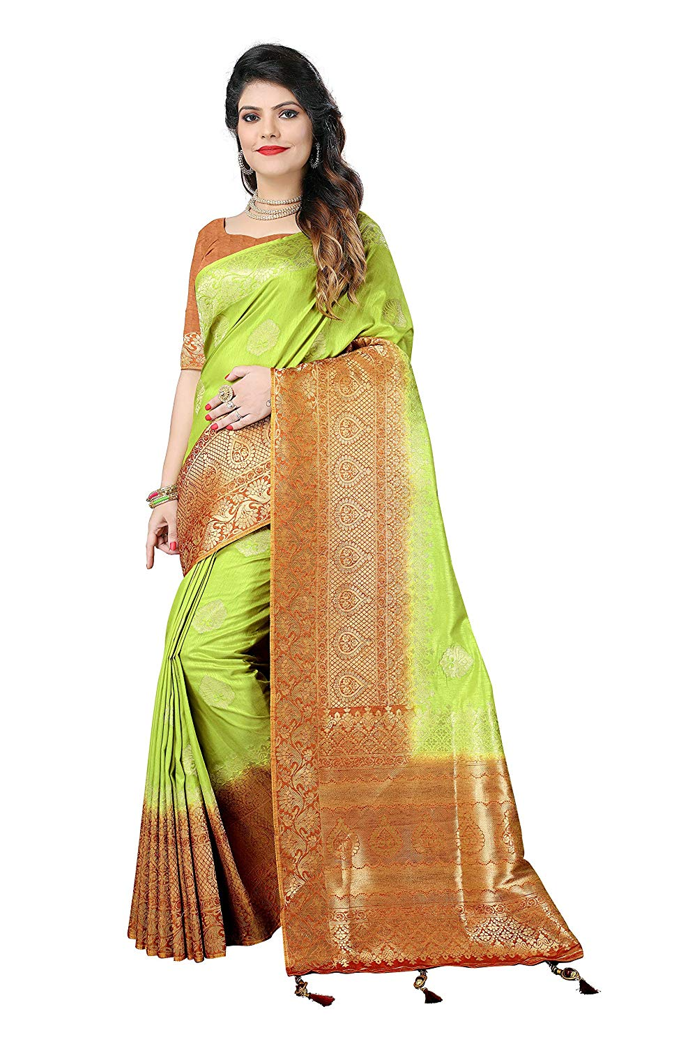 Silky Sarees Women's Banarasi Silk Saree with Heavy Blouse Piece