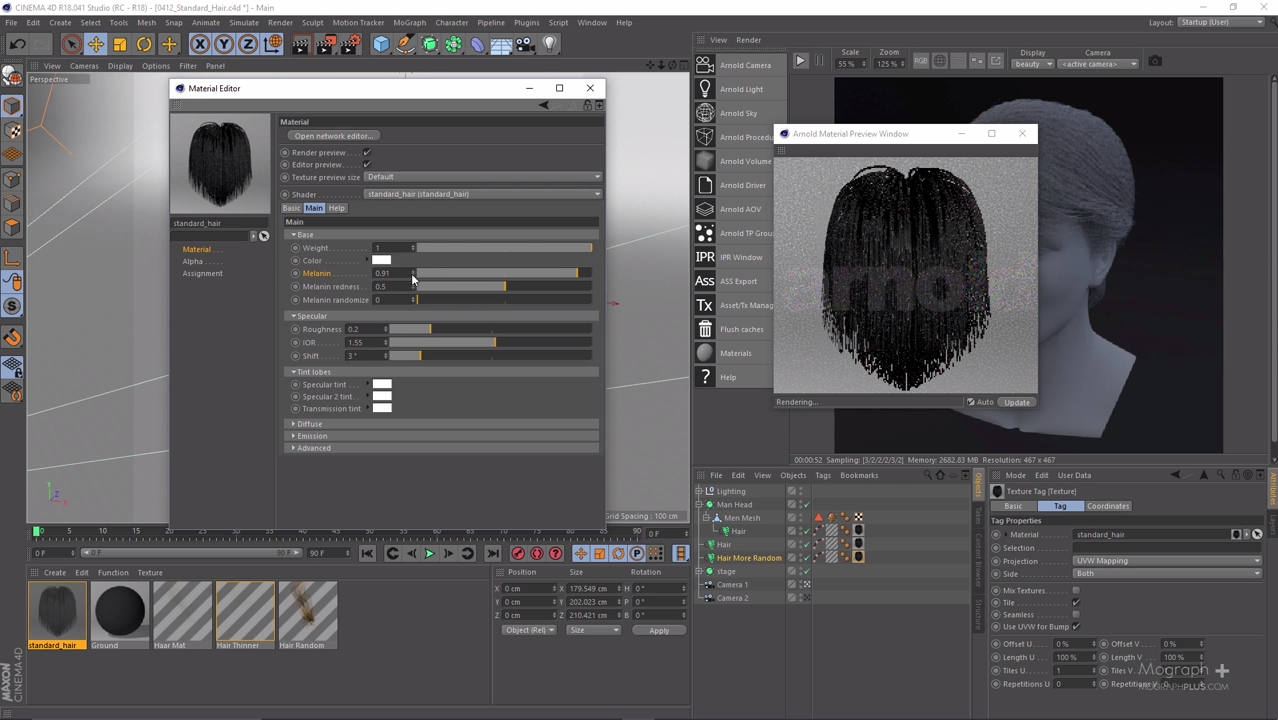Using Standard Hair Shader in Arnold 5 for Cinema 4d | CG TUTORIAL