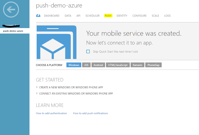 Azure Push Notifications for Hybrid Mobile App (Ionic