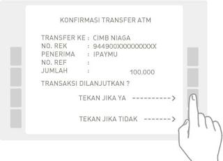 """Akan muncul Konfirmasi Transfer. Periksa kembali, pastikan no rekening deposit yang Anda masukkan benar, dan pastikan nama penerima adalah iPaymu. Jika semua sudah benar tekan tombol """"Tekan Jika Benar"""""""