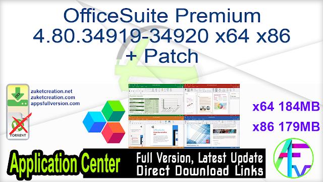 OfficeSuite Premium 4.80.34919-34920 x64 x86 + Patch