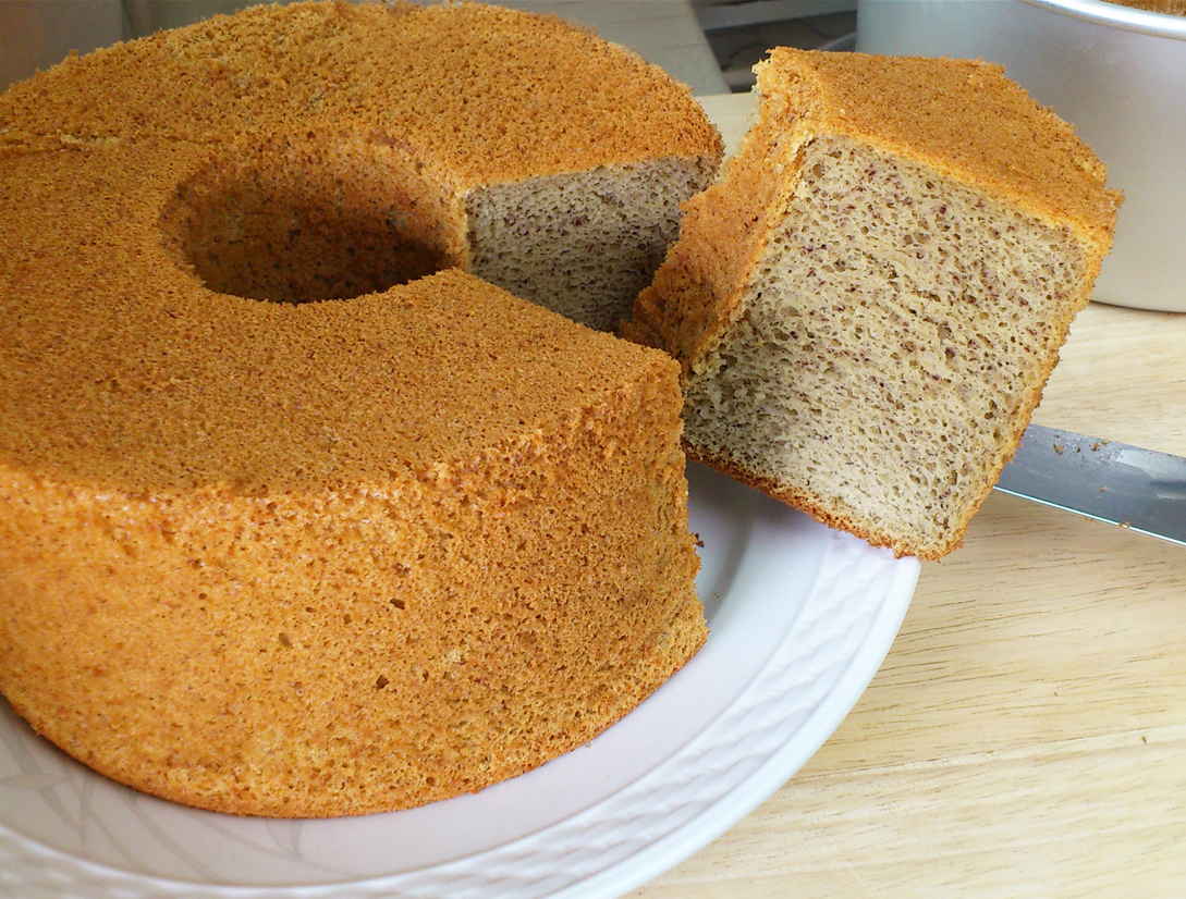 banana chiffon cake, cut