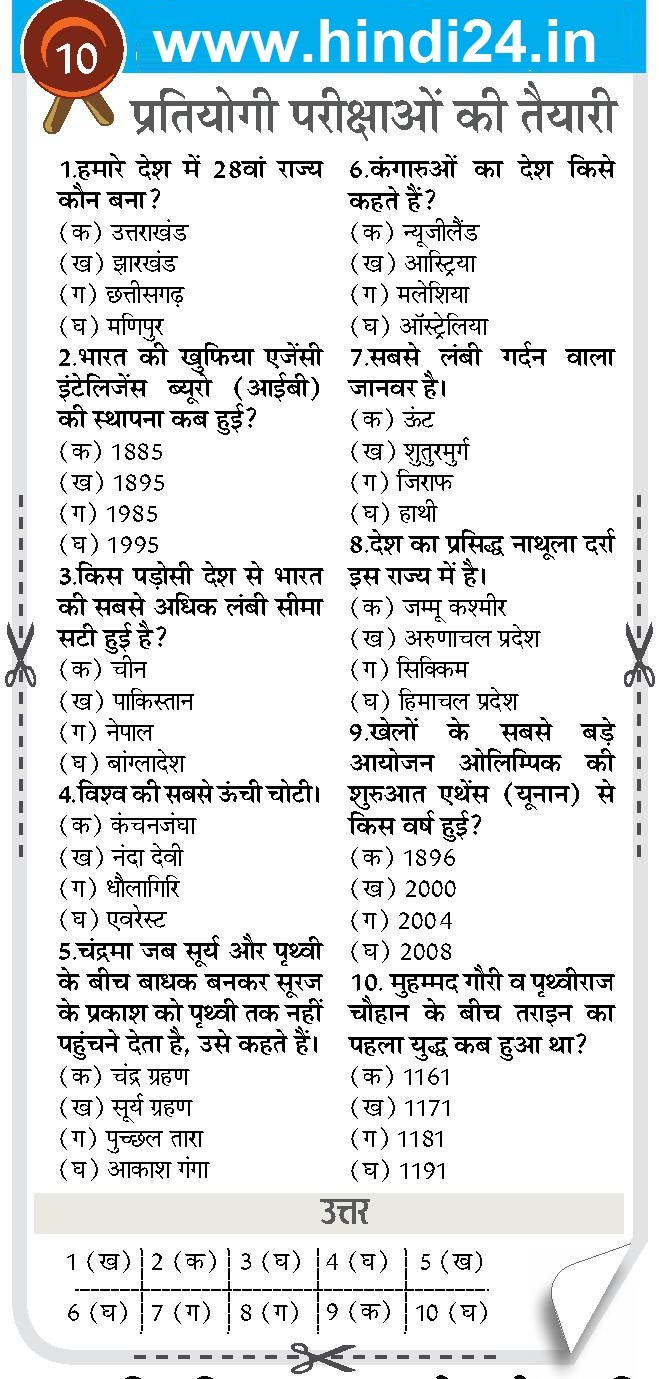Current Affairs Questions & Answers PDF in Hindi