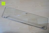 Stange am Glas: Badablage mit Glasboden und verchromter Reling 50 x 14 cm
