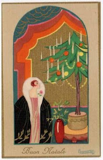 An Art Deco style drawing of a woman in a coat with a large white fur collar standing by a Christmas tree.
