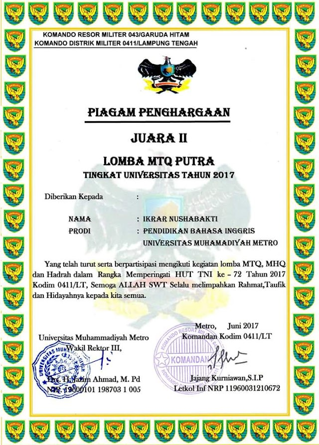 Congratulation to Ikrar Nushabakti as the Second Winner of Lomba MTQ Putra