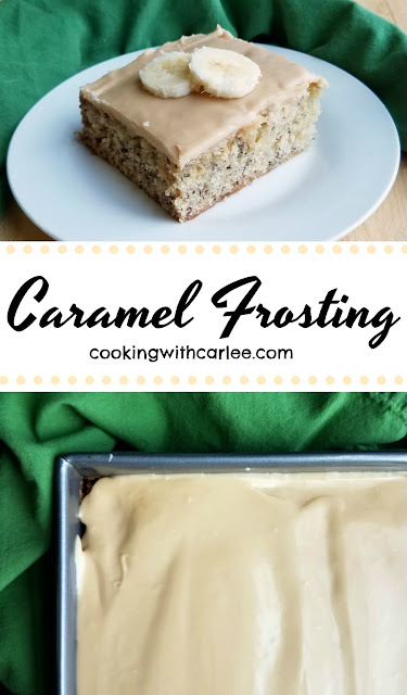 Smooth, sweet and creamy, this caramel frosting is easy to make and is a perfect topper to butter cake, chocolate cake, banana cake and more!