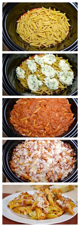 Crock Pot Baked Ziti #pasta #dinner