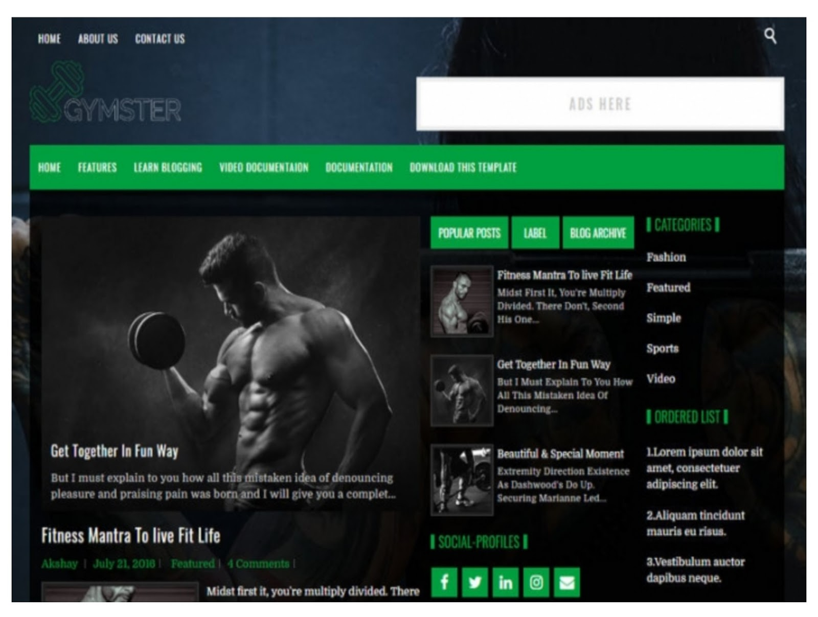 Gymster Gym Blogger Template