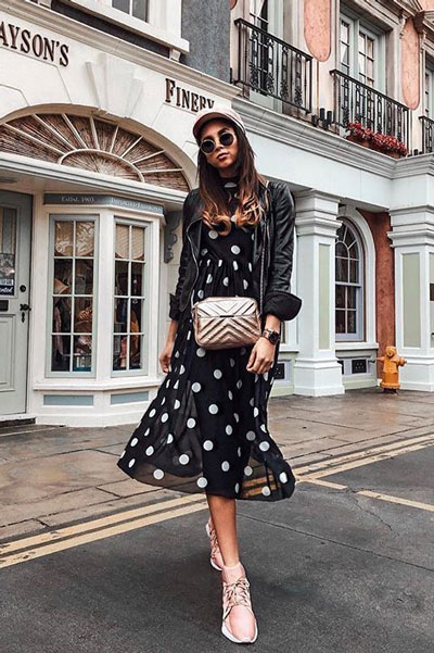 20+ Top Fall Outfits To Add To Your Wardrobe | Midi Dress in Black with White Polka Dot