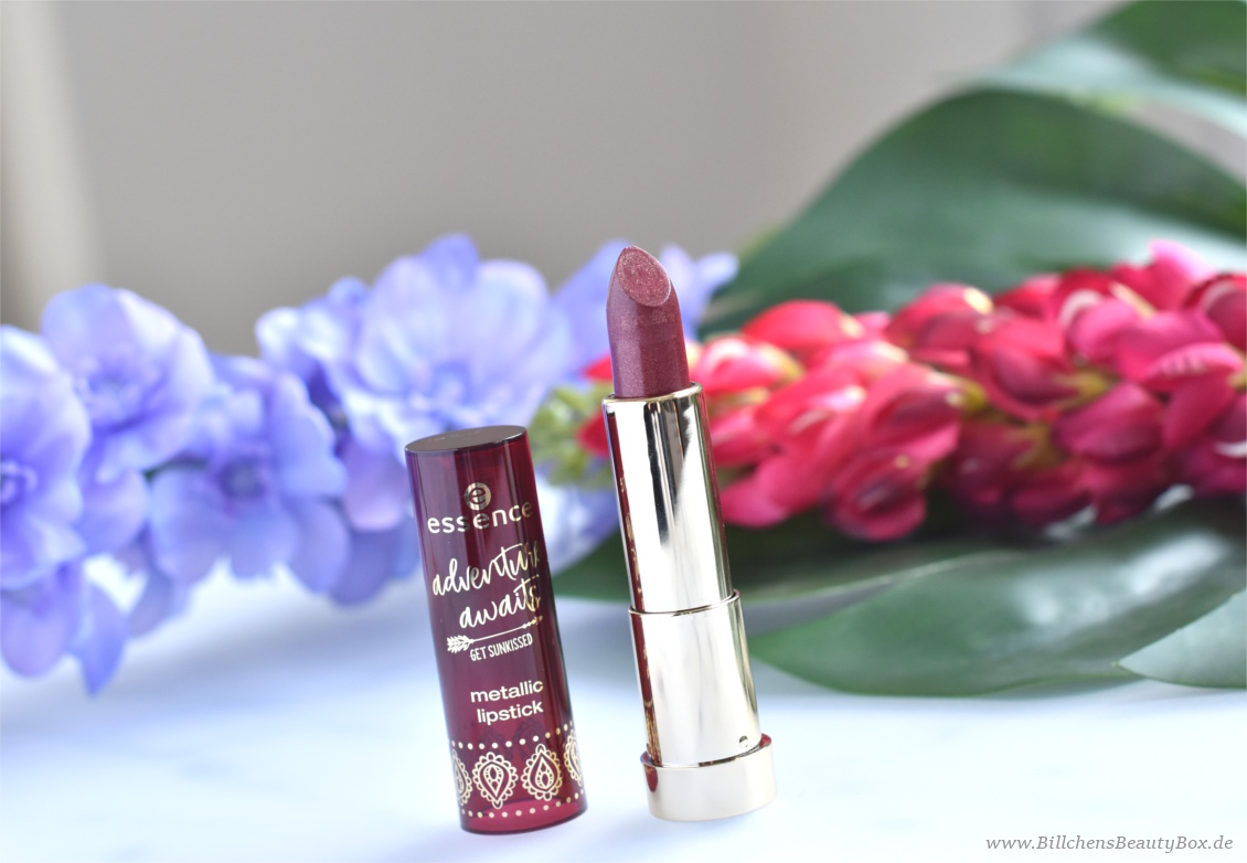 Review und Swatches - essence adventure awaits - get sunkissed Trend Edition - metallic lipstick berry plum