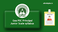 Goa PSC Principal Junior Scale syllabus