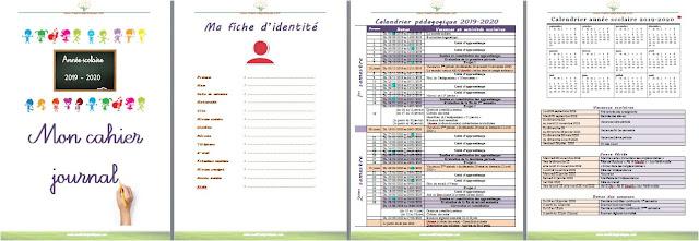 cahier journal- année scolaire 2019-2020 - fiche d'identité - répartition mensuelle - répartition annuelle - emploi du temps - vacances - jours fériés