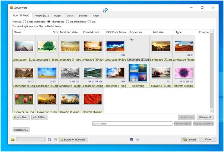 XnConvert : Γρήγορος, ισχυρός, δωρεάν μετατροπέας εικόνας