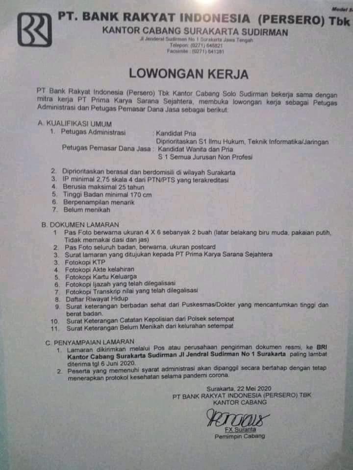 Lowongan Kerja Bank Bri Cab Surakarta Sudirman Admin Staff Pemasar Dana Jasa Loker Swasta