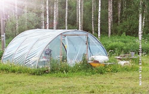 easy greenhouse reusing trampoline