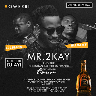 Mr 2kay kicks off South south tour with The Christian brothers brandy