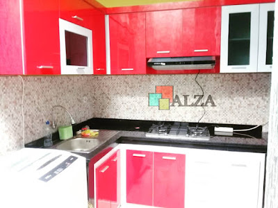 Kitchen set warna merah gloss minimalis