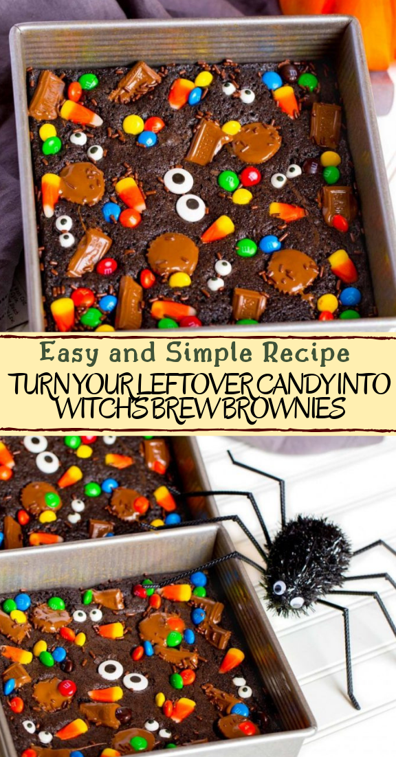 TURN YOUR LEFTOVER CANDY INTO WITCH'S BREW BROWNIES #desserts #cakerecipe #chocolate #fingerfood #easy