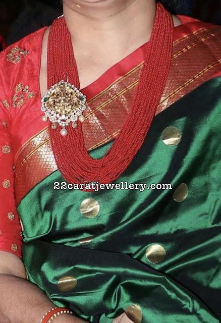 Coral Beads Haram with Lakshmi