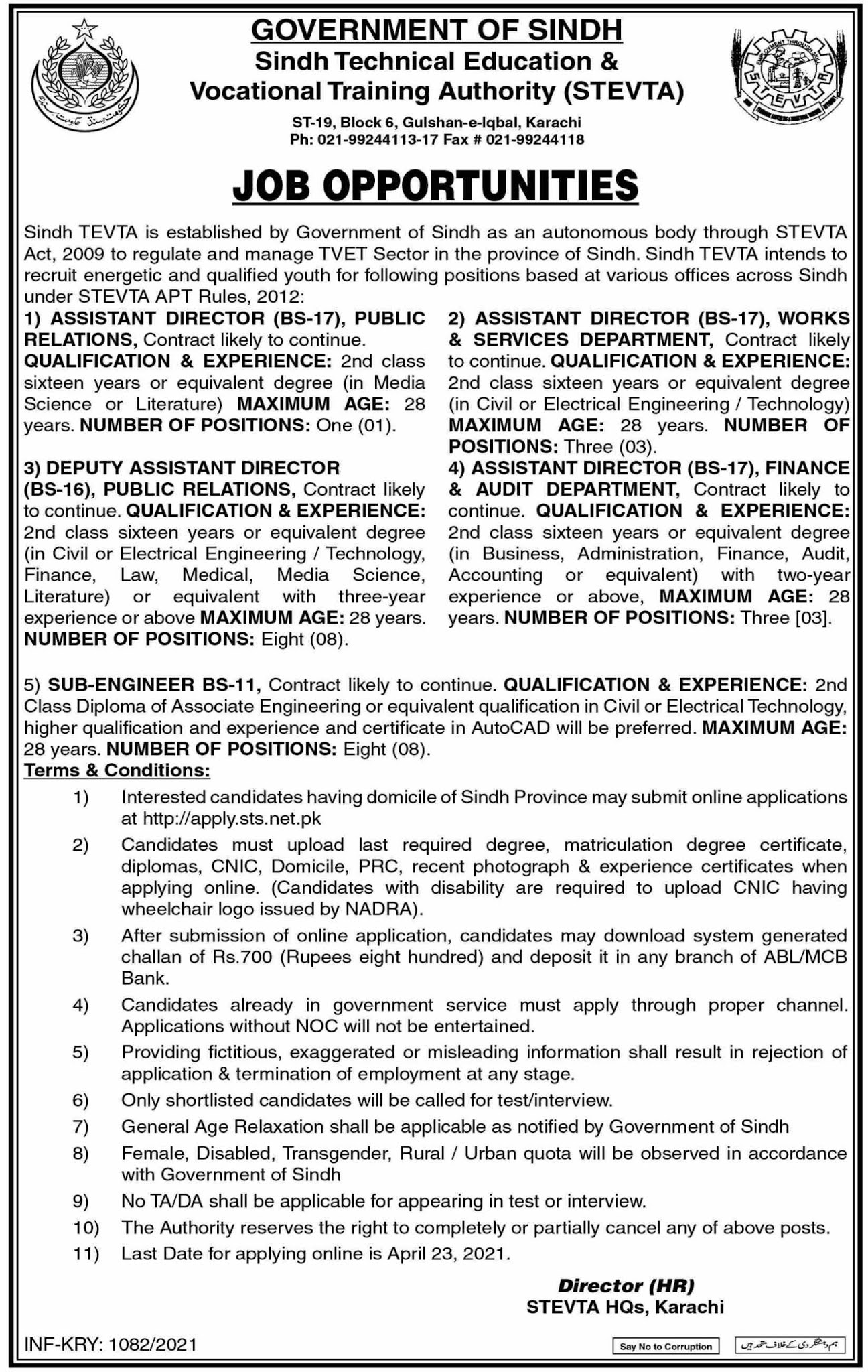 Sindh Technical Education & Vocational Training Authority Jobs 2021