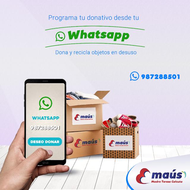 Programa tu donativo desde tu whattsapp