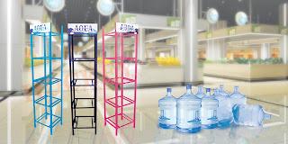 rak galon minimalis,rak galon,rak,supermarket,minimarket,toko,aqua,cleo