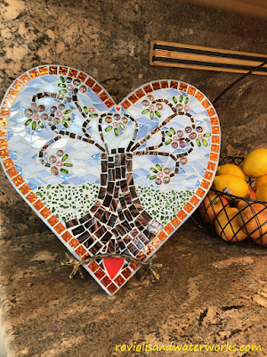handmade mosaic decor; mosaic heart with family tree; mosaic