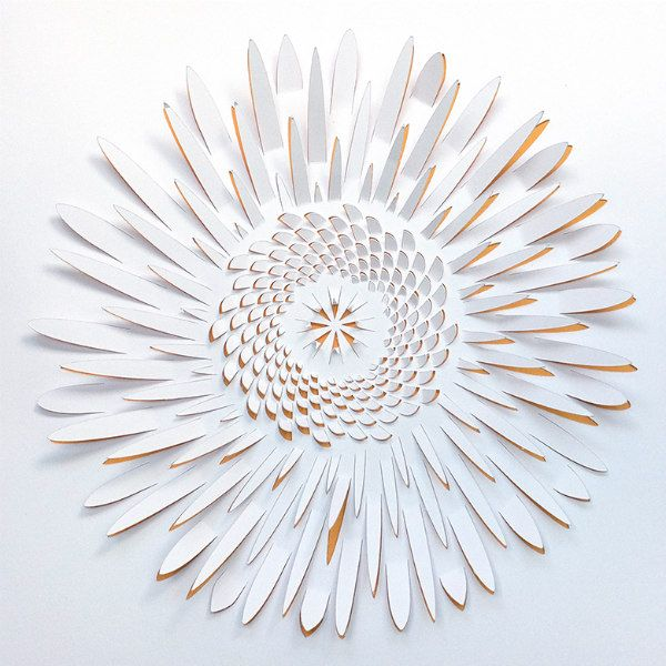 dimensional papercut white sunflower with yellow lining