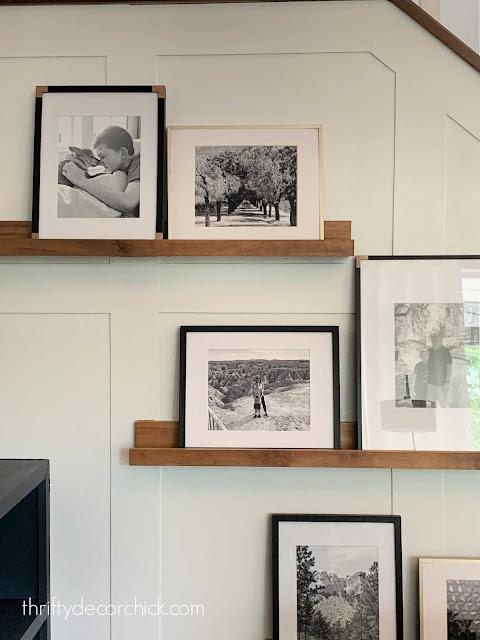 DIY wood ledges on white wall
