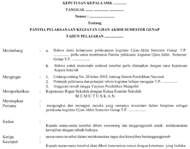 Contoh SK Panitia UAS Format Word Terbaru