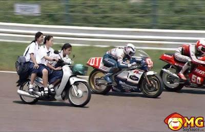Hình ảnh hài hước 18+ vui nhộn nhất - Pic funny 18+, nữ sinh đua xe máy