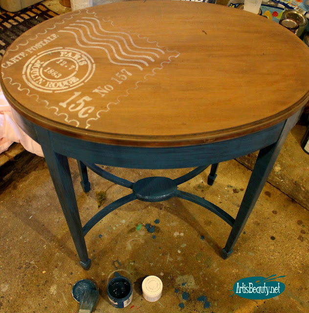 americana decor chalky finish blue paint french stencil postage vintage parlor table makeover diy furniture girl