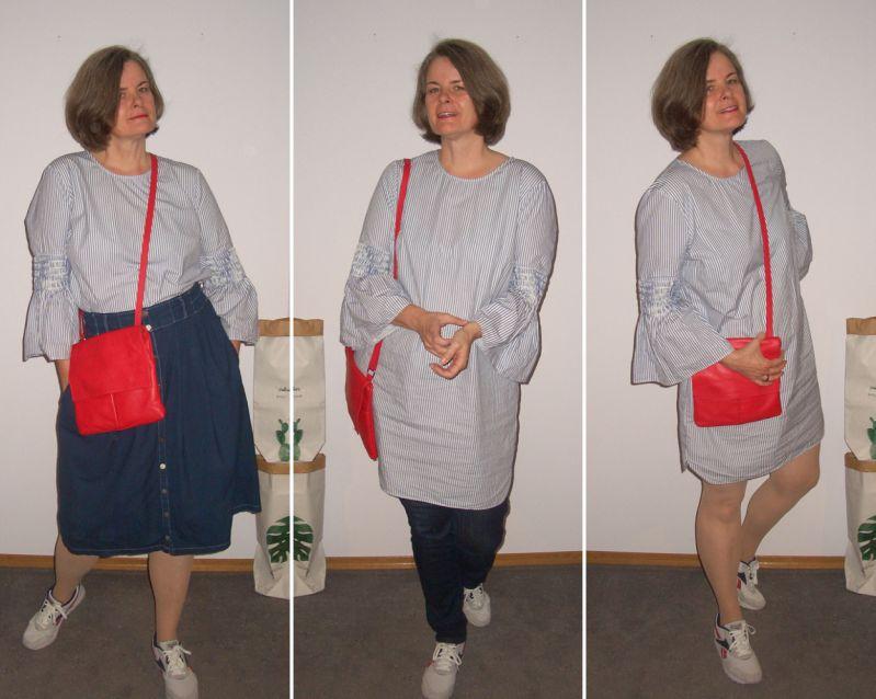 Tunikakleid pur, mit Jeans und Jeansrock plus Rot kombiniert