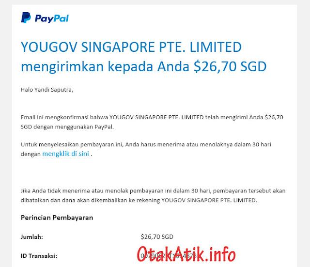 Bukti Pembayaran diatas saya terima pada tanggal 18 Oktober 2019.    Karena dollar PayPal yang masuk dalam bentuk dollar Singapura. Jadi, nantinya saat klaim verifikasi di akun PayPal maka di konvert langsung waktu itu.