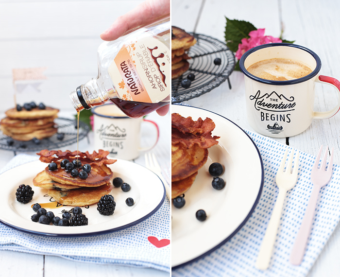 Blueberry Pancakes mit Bacon & Ahornsirup Blaubeeren Speck maple sirup english breakfast