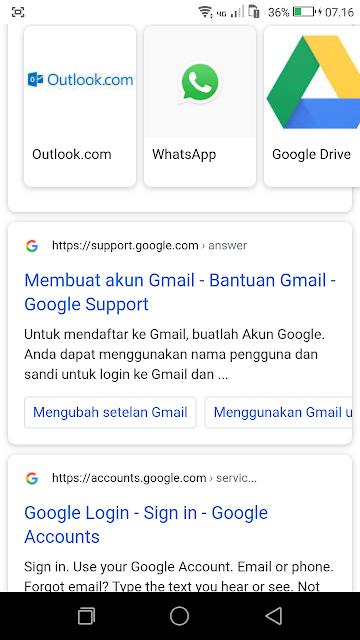 ketik Gmail untuk bisa menampilkan artikel suport google yang di dalamnya memuat link eksternal menuju halaman pembuatan akun email Gmail