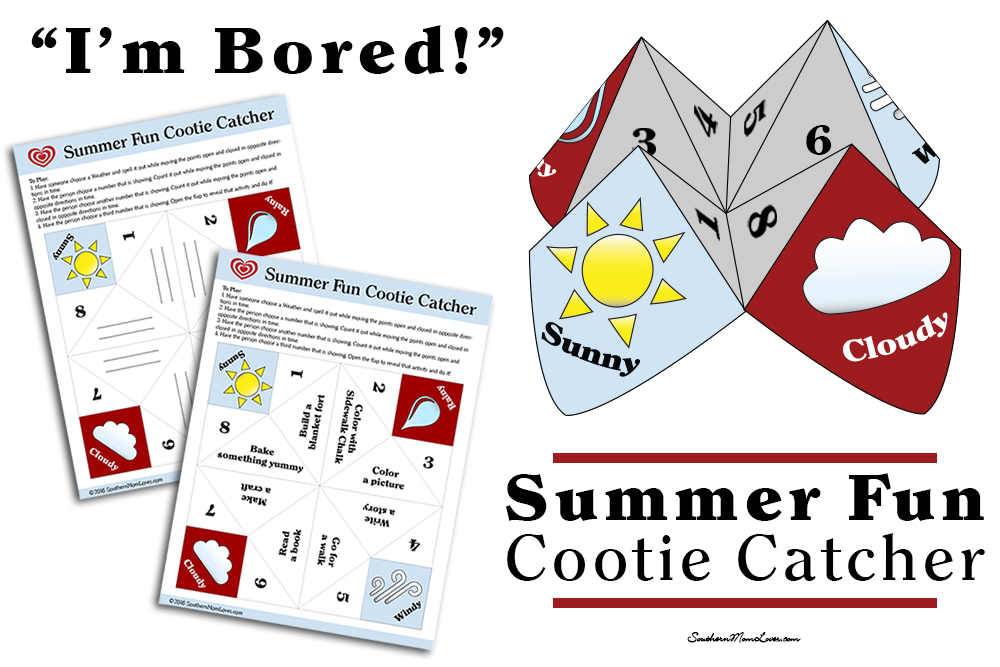 photo about Cootie Catcher Printable identify Southern Mother Enjoys: Im Bored! Summer time Pleasurable Cootie Catcher
