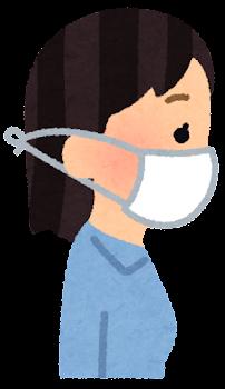 横から見たマスクを付けた人のイラスト(女性)3
