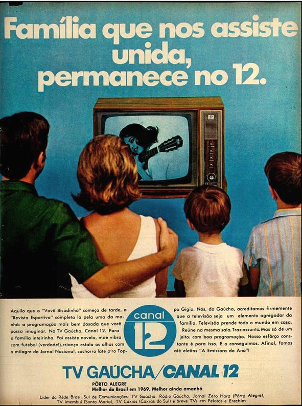 Campanha da TV Gaúcha no começo dos anos 70 promovendo sua grade de programação e liderança