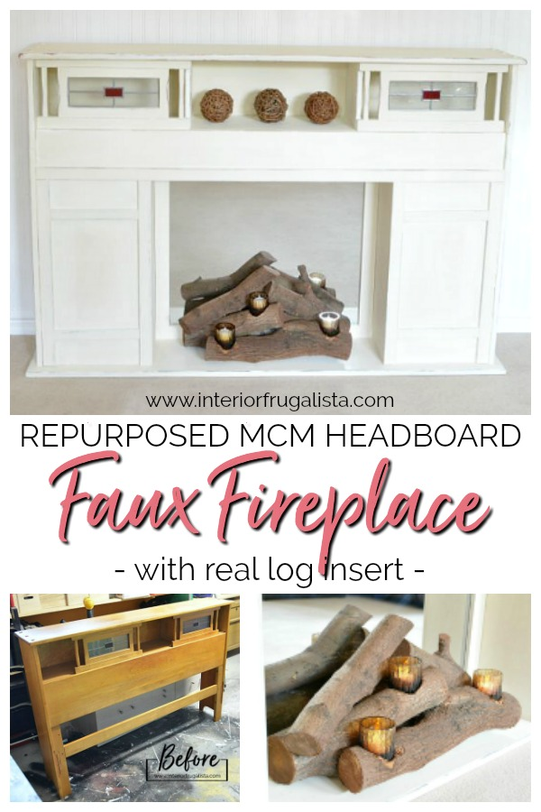 Repurposed Mid-Century Modern Headboard Faux Fireplace