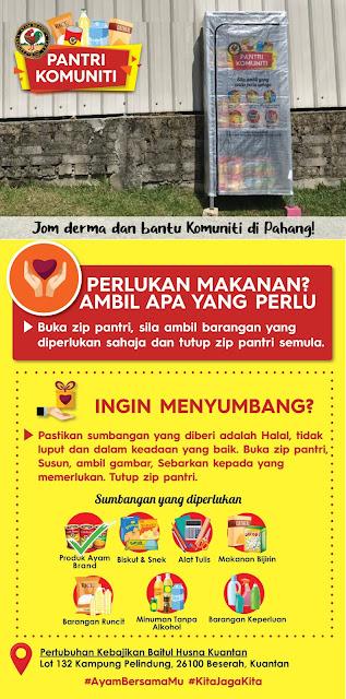 Pertubuhan Kebajikan Baitul Husna Kuantan Bina Pantri Makanan #AyamWithYou,  Bantu Komuniti Kuantan