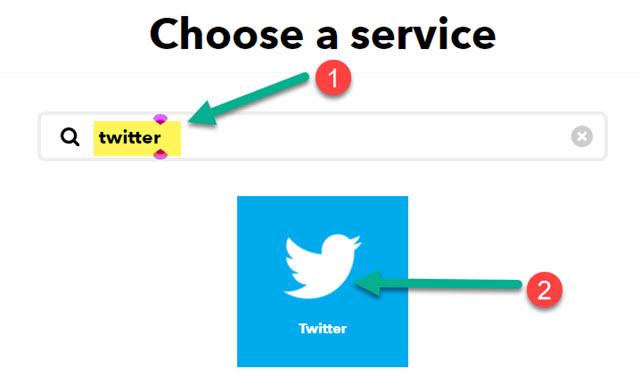 scelta del servizio per action di IFTTT